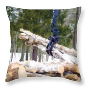 Unloading Firewood 8 Throw Pillow
