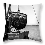 Unloading Fish From Monterey's Wharf Two Circa 1950  Throw Pillow