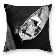 Unloading Fish At Wharf Two Monterey  Circa 1950  Throw Pillow