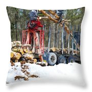 Unloading Of Logs On Transport Throw Pillow