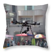 Unmanned Aerial Vehicle With A Digital Camera Throw Pillow