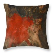Untitled Abstract - Umber With Scarlet Throw Pillow