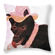 Untitled Dog With Hat Throw Pillow