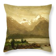 Untitled Mountains And Lake Throw Pillow