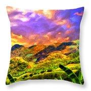 Upcountry Maui Sunset Throw Pillow