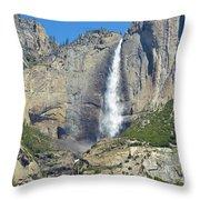 Upper And Lower Yosemite Falls Throw Pillow