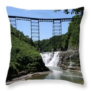 Upper Falls Of The Genesee River  Throw Pillow