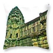 Upper Level Tower In Angkor Wat In Angkor Wat Archeological Park Near Siem Reap-cambodia Throw Pillow