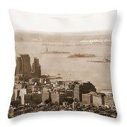 Upper New York Bay Vintage Throw Pillow