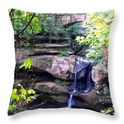 Upper Old Mans Cave Falls Throw Pillow