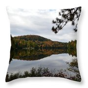 Upper Saranac Bay In Fall Throw Pillow
