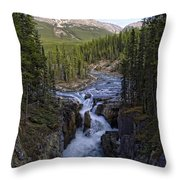 Upper Sunwapta Falls - Canadian Rockies Throw Pillow