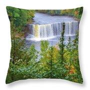 Upper Tahquamenon Falls In Early Autumn Throw Pillow