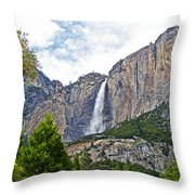 Upper Yosemite Falls From The Valley Floor In Yosemite National Park-california Throw Pillow
