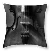 Upright Violin Bw Throw Pillow