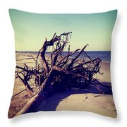 Uprooted Tree On The Beach Throw Pillow