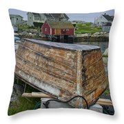 Upside Down Boat In Peggy's Cove Harbour Throw Pillow