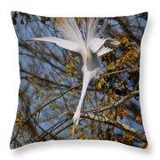 Upside Down Egret Throw Pillow