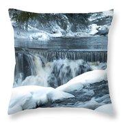 Upstream At Bond Falls Throw Pillow