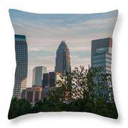 Uptown Charlotte North Carolina Cityscape Throw Pillow