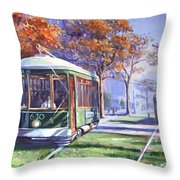 Streetcars Uptown New Orleans Throw Pillow
