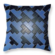 Urban Blue City Boxes Cube Leather Throw Pillow