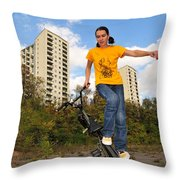 Urban Bmx Flatland With Monika Hinz Throw Pillow