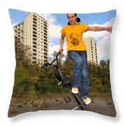 Urban Bmx Flatland With Monika Hinz Throw Pillow