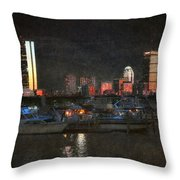 Urban Boston Skyline Throw Pillow