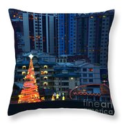 Urban Christmas Tree Throw Pillow