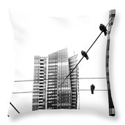 Urban Pigeons On Wires Throw Pillow