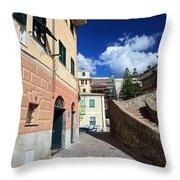 urban scene in Bogliasco Throw Pillow