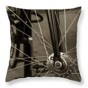 Urban Spokes In Sepia Throw Pillow