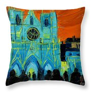 Urban Story - The Festival Of Lights In Lyon Throw Pillow