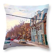 Urban Winter Landscape Colors Of Quebec Cold Day Pointe St Charles Street Scene Montreal  Throw Pillow