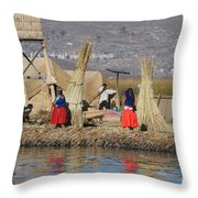 Uros Village Throw Pillow