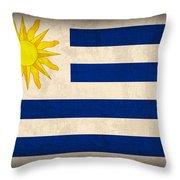 Uruguay Flag Vintage Distressed Finish Throw Pillow