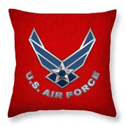 U. S. Air Force  -  U S A F Logo On Red Leather Throw Pillow