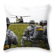 U.s. Army Paratroopers Prepare To Board Throw Pillow