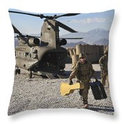 U.s. Army Sergeant Helps Unload Band Throw Pillow