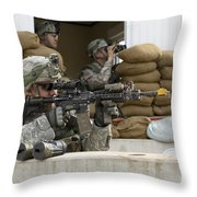 U.s. Army Soldier Looks Down The Scope Throw Pillow