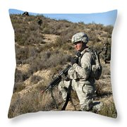U.s. Army Soldier Scans For Simulated Throw Pillow