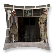 U.s. Army Soldier Stands Guard In Farah Throw Pillow