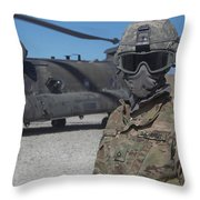U.s. Army Soldier Stands Ready To Load Throw Pillow