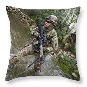 U.s. Army Soldier Walks Through A Creek Throw Pillow