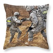 U.s. Army Soldiers Helps A Fellow Throw Pillow