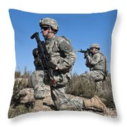 U.s. Army Soldiers Scan The Terrain Throw Pillow