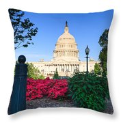 Us Capitol And Red Azaleas Throw Pillow