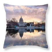Washington Dc Us Capitol Building At Sunrise Throw Pillow
