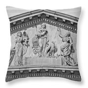 Us Capitol Building Facade- Black And White Throw Pillow